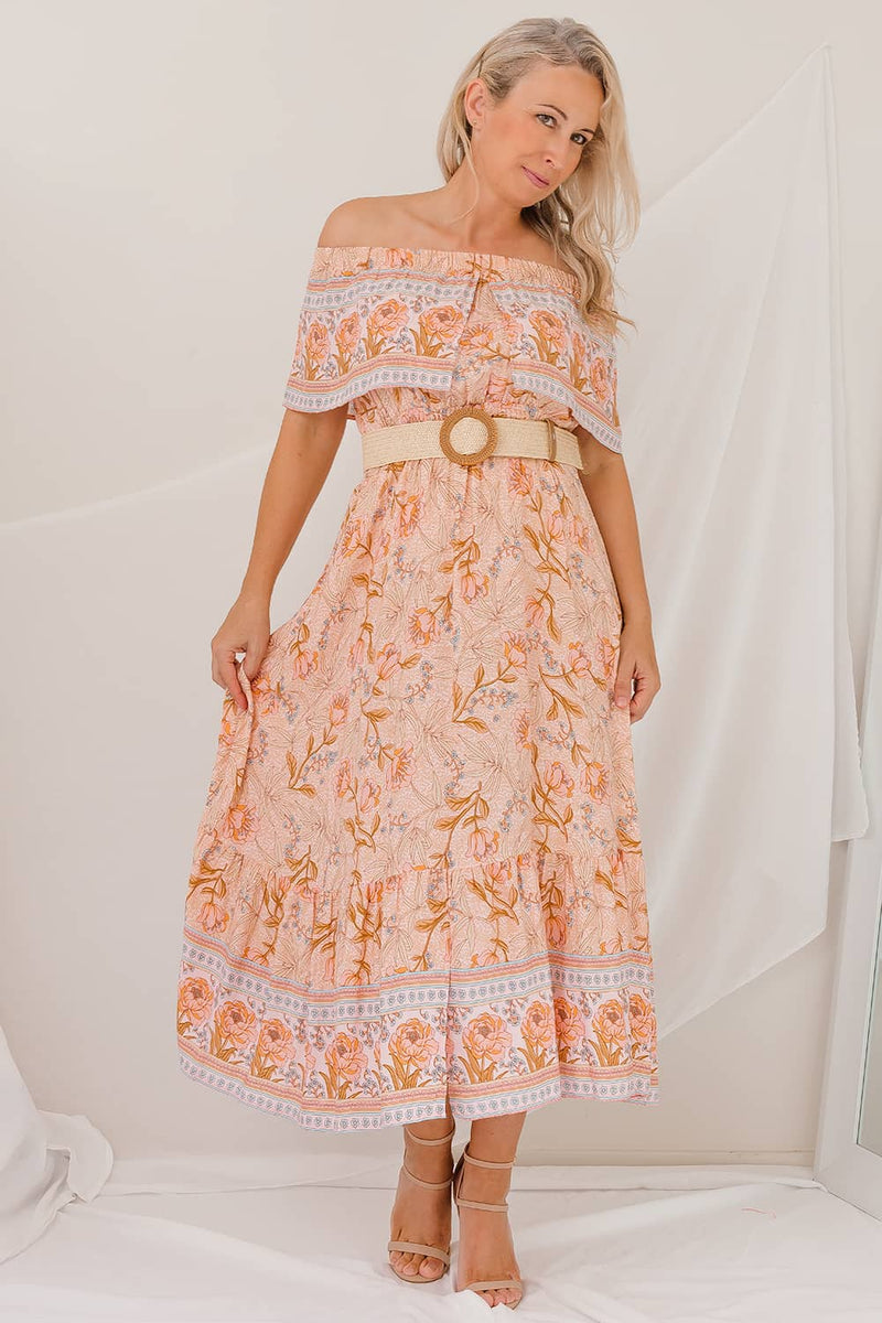 peach floral off the shoulder dress