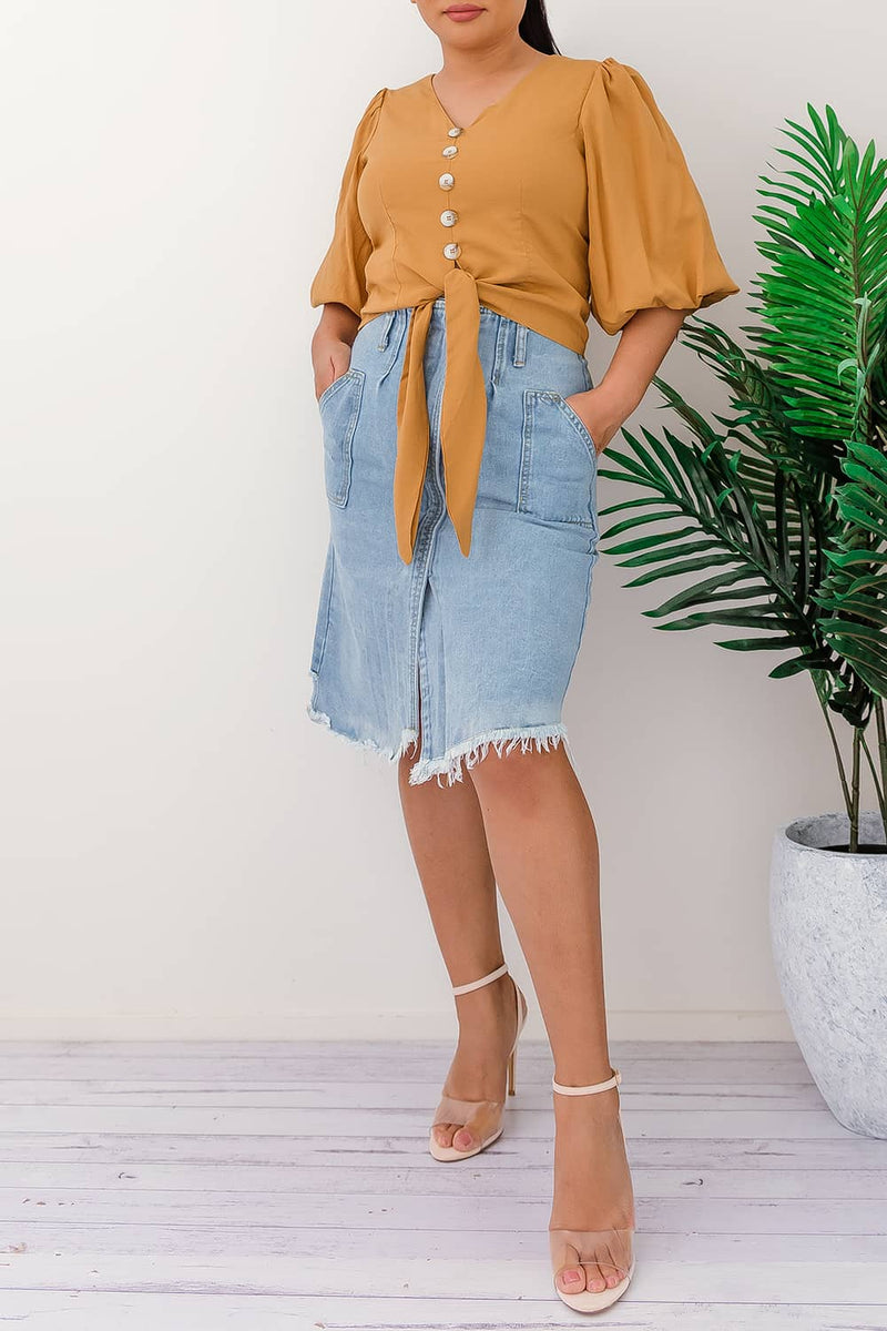 MARTHA HIGH RISE DENIM SKIRT - Two Sisters Instyle