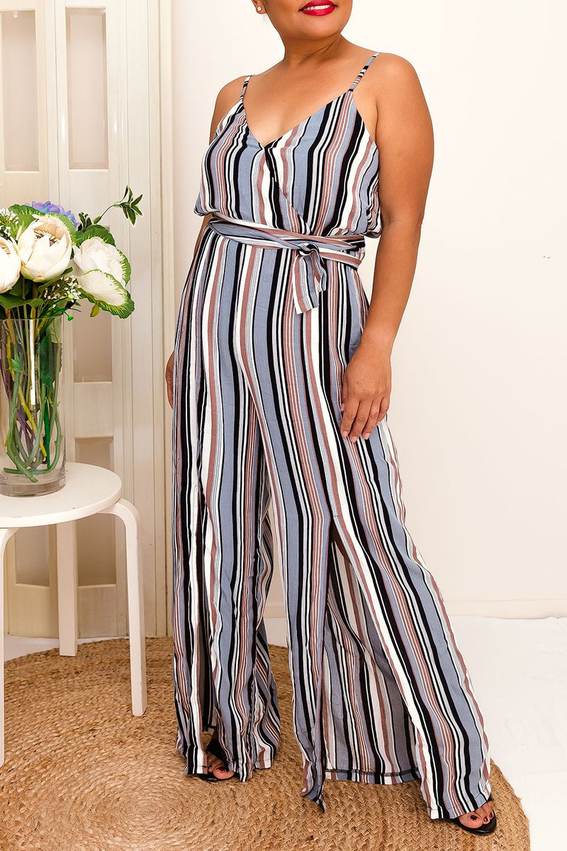 NEDA STRIPED BELTED CAMI JUMPSUIT - Two Sisters Instyle