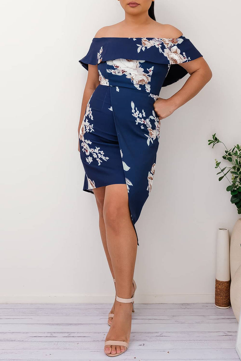 RIVKA FLORAL DRESS-NAVY - Two Sisters Instyle