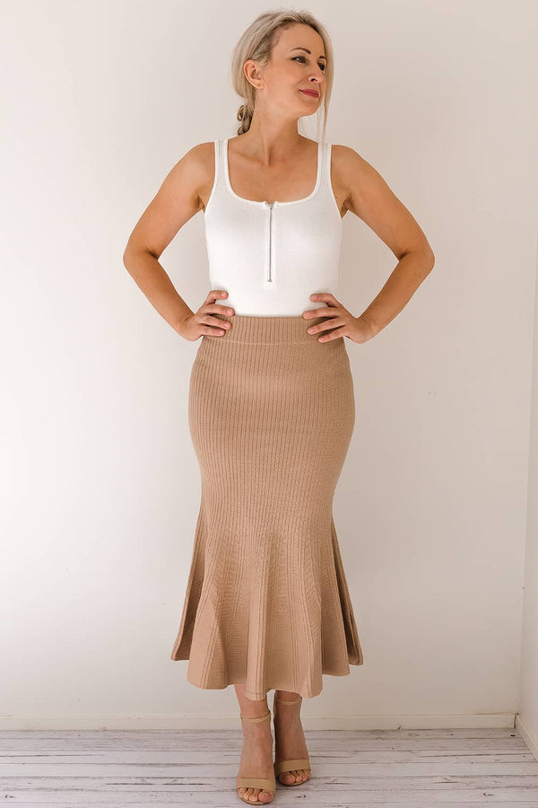 NICOLETTE FISHTAIL KNIT SKIRT -BEIGE - Two Sisters Instyle