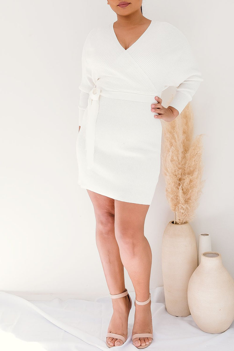 PEARL KNIT DRESS - WHITE - Two Sisters Instyle