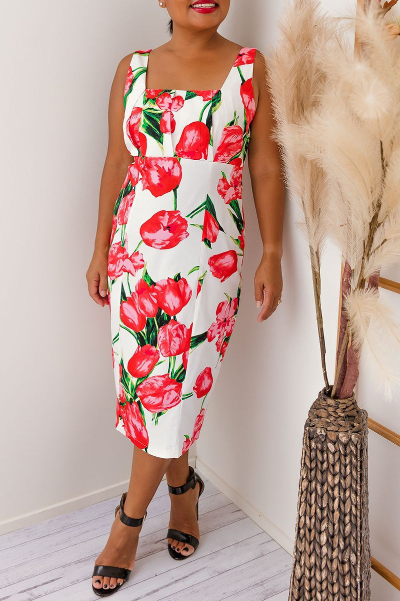 PERDI FLORAL DRESS -RED - Two Sisters Instyle