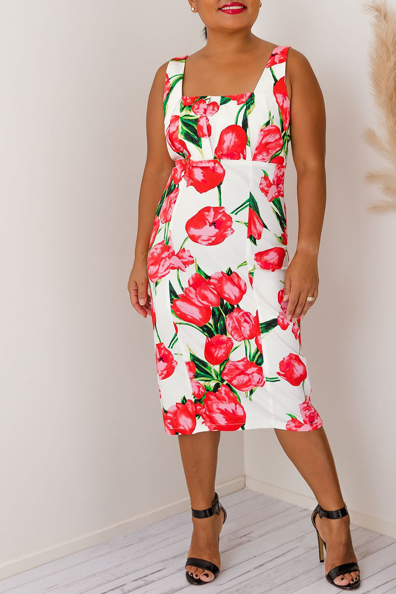 PERDI FLORAL DRESS -RED l TWO SISTERS INSTYLE