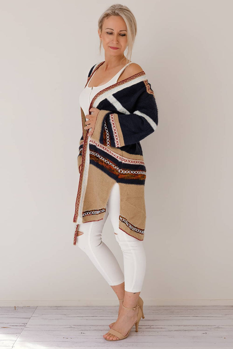 navy boho cardigan long sleeve