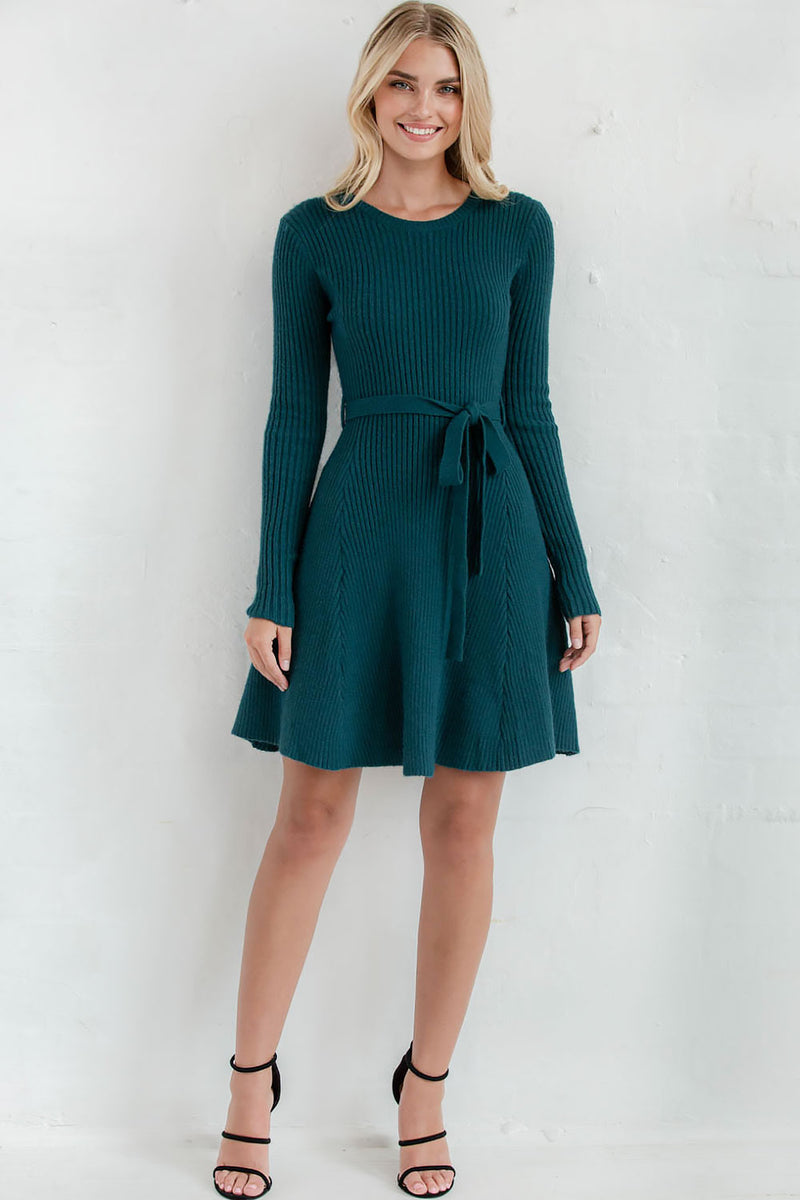 FRIDA KNIT DRESS - TEAL - Two Sisters Instyle