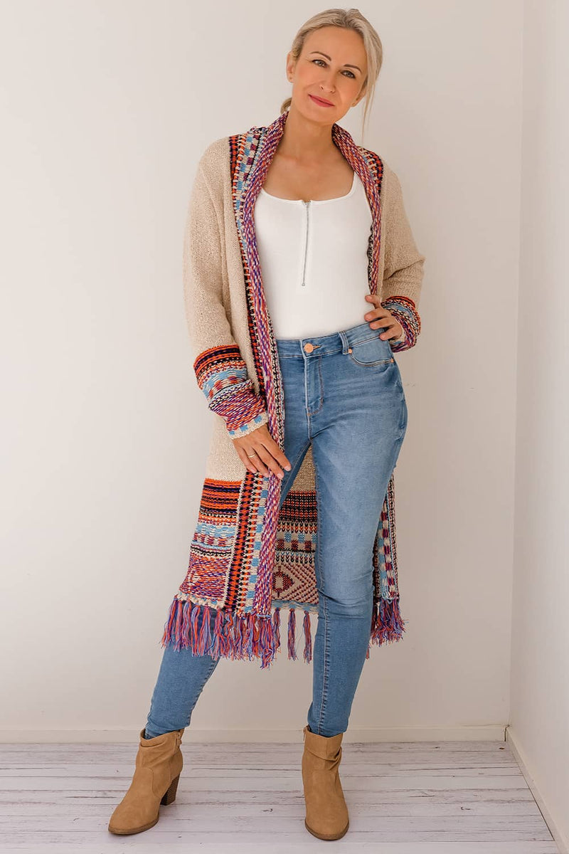 SADIE BOHO KNIT CARDIGAN - PURPLE I Two Sisters Instyle