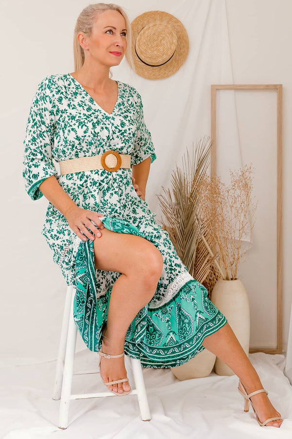 Front functional plastic button Drawstring Waist Lightweight / Non-stretch. Breastfeeding Friendly Elastic at sleeve hem Circle embroidered trim detail V Necklineboho maxi dress green long sleeve