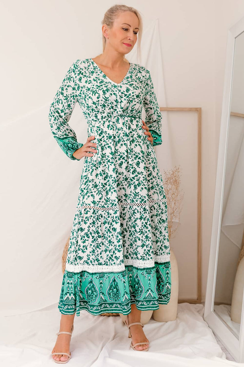 SAFIYA FLORAL MAXI DRESS - GREEN I Two SIsters Instyle