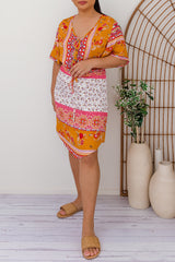 SAMARIA  BOHO DRESS - ORANGE - Two Sisters Instyle