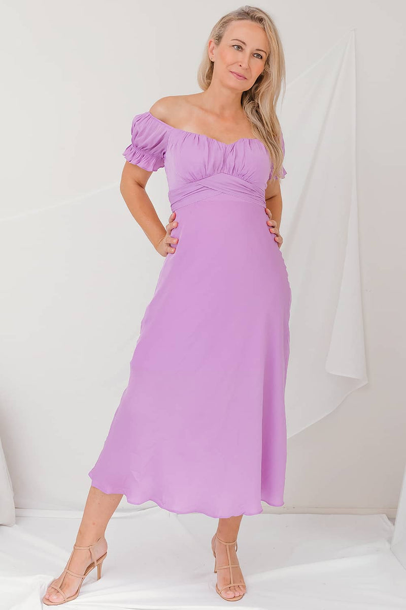 lilac bridesmaid dress off the shoulder party prom dress