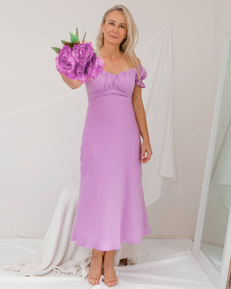 lilac off the shoulder dress