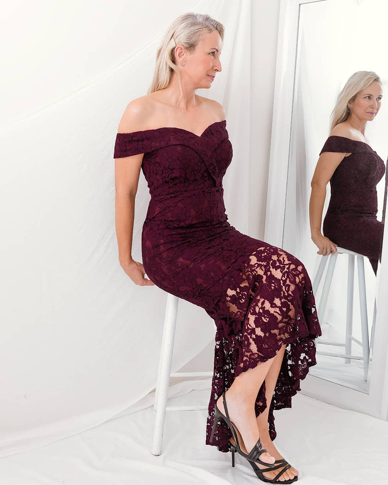 SILVINA EVENING DRESS - MAROON