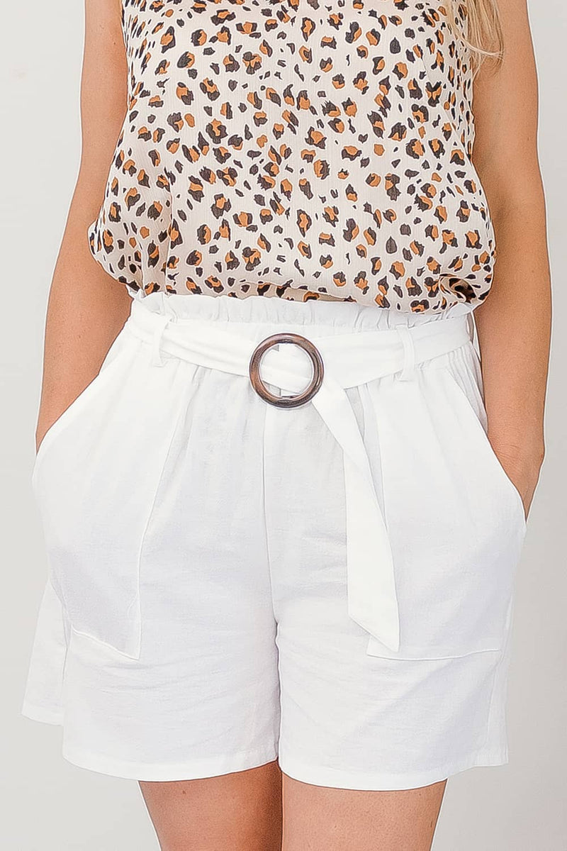 TALA COTTON BUCKLE SHORTS - WHITE