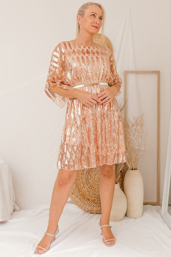TAYLIN SEQUIN DRESS - ROSE GOLD I Two Sisters Instyle