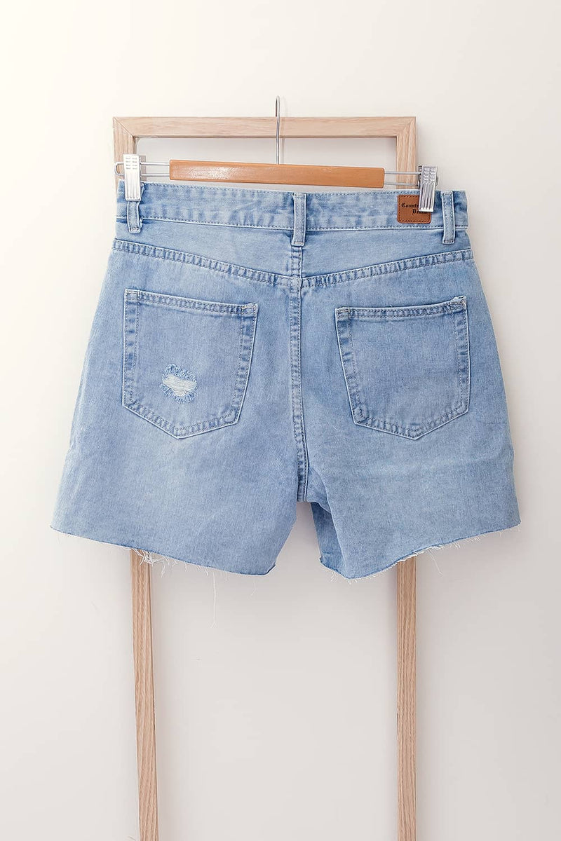 high rise denim short distressed