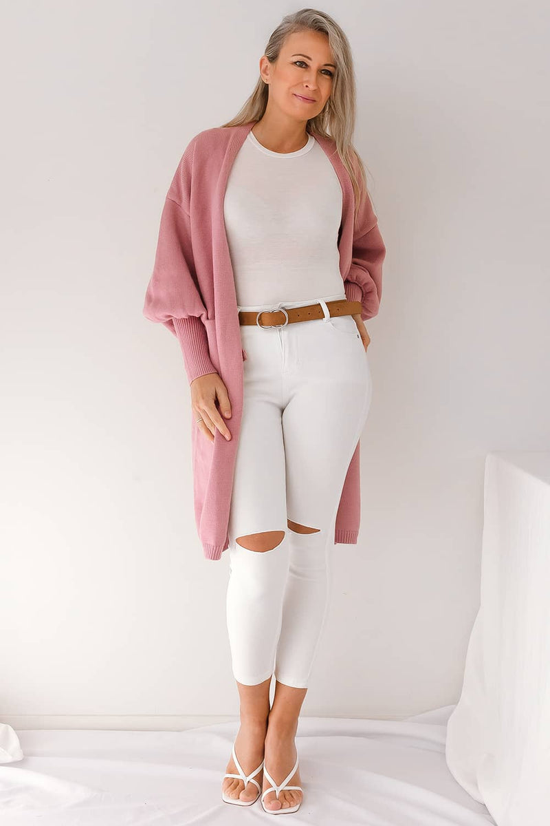 pink winter cardigan