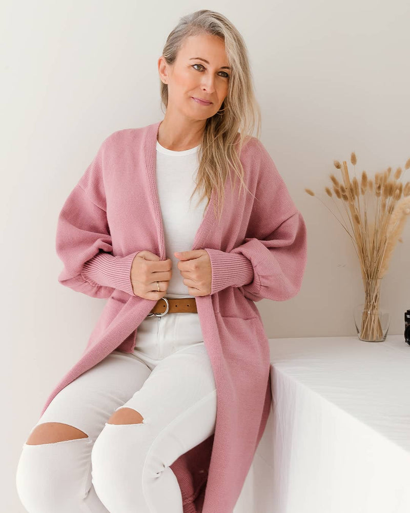 Pink bell sleeves cardigan blush open cardigan
