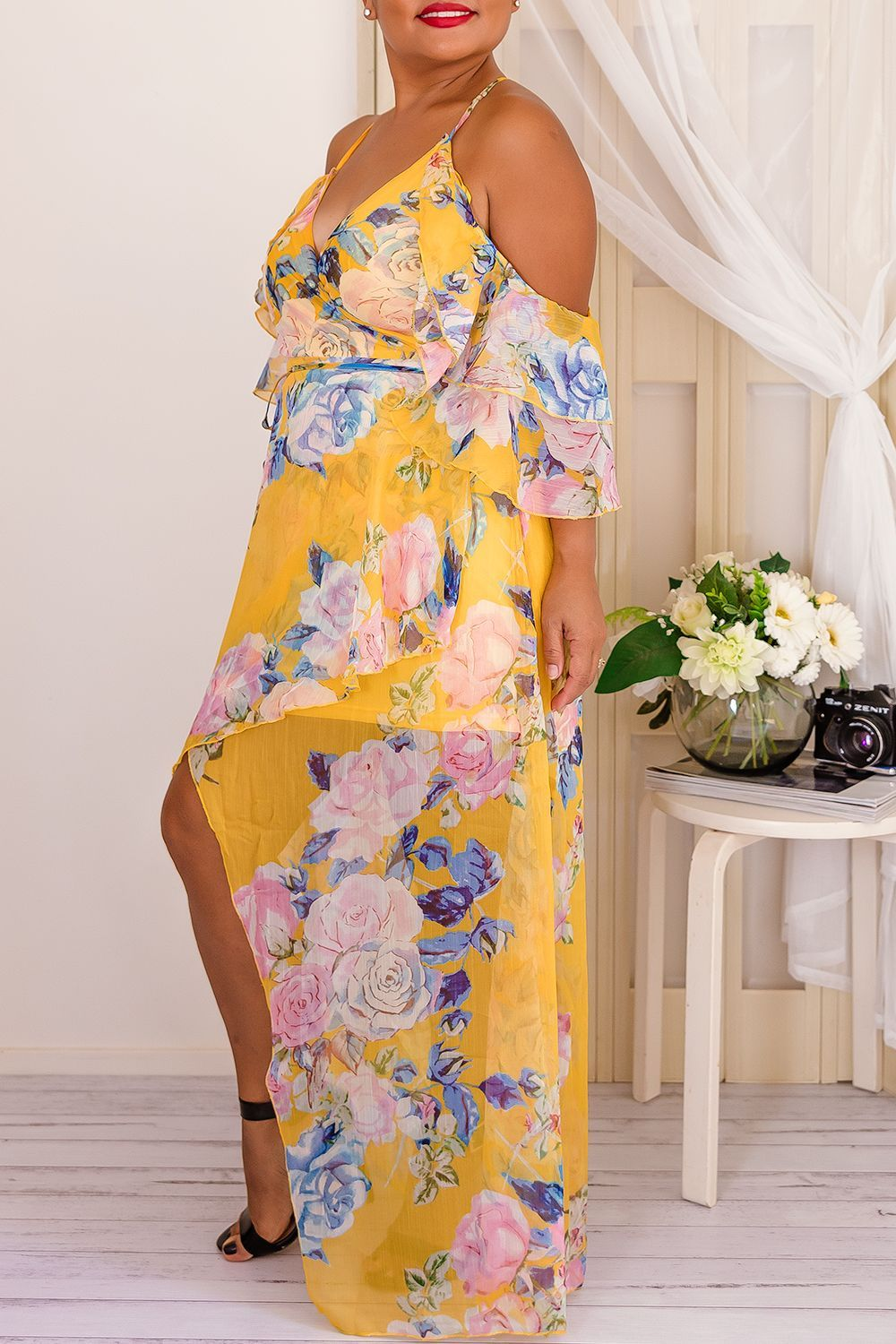 - Sheer Yellow Floral Dress - Light weight  - Ruffle Layered  - Cold Shoulder Dress with Tie at Waist - Elegant racer back feature