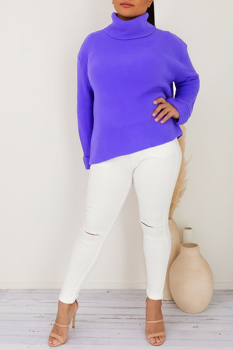 ZALIA TURTLENECK JUMPER - PURPLE - Two Sisters Instyle