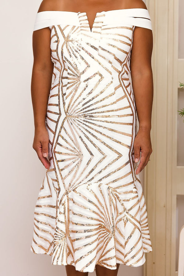 AMARIS SEQUINS MIDI DRESS IN GOLD - Two Sisters Instyle