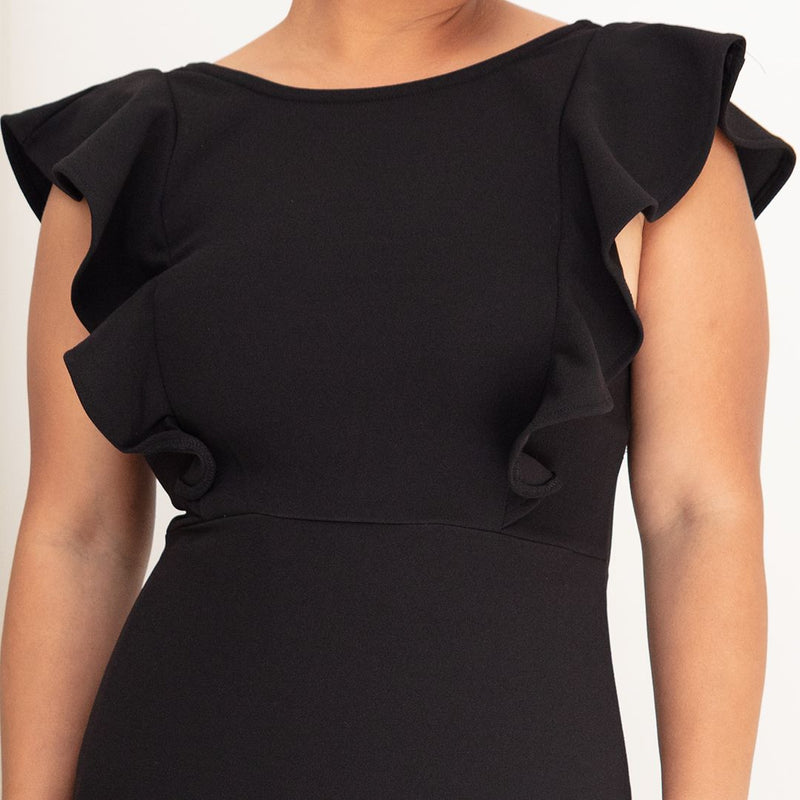 CLAUDIA RUFFLED DRESS-BLACK - Two Sisters Instyle