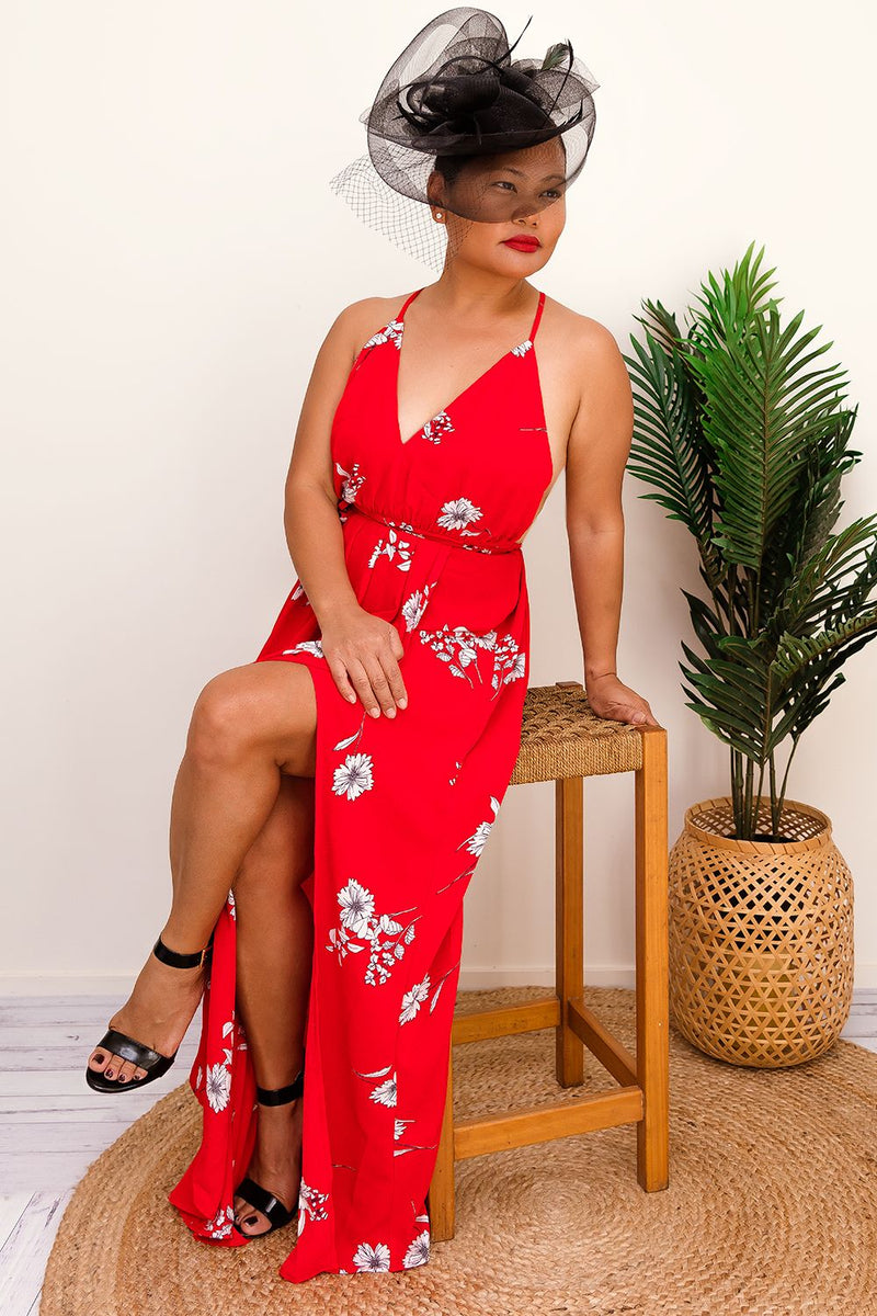 CORABELLE MAXI DRESS-RED - Two Sisters Instyle