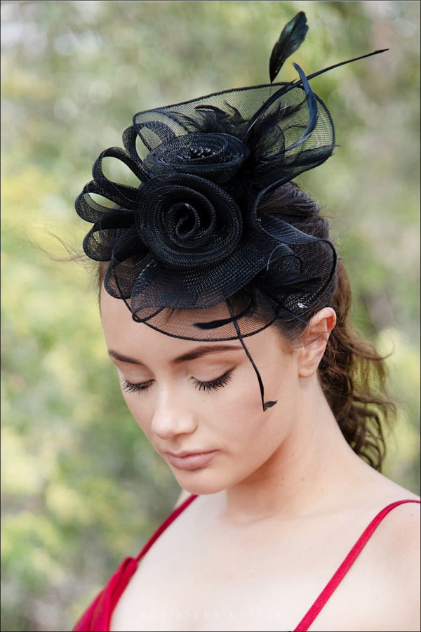 Dantes Black Fascinator - Two Sisters Instyle