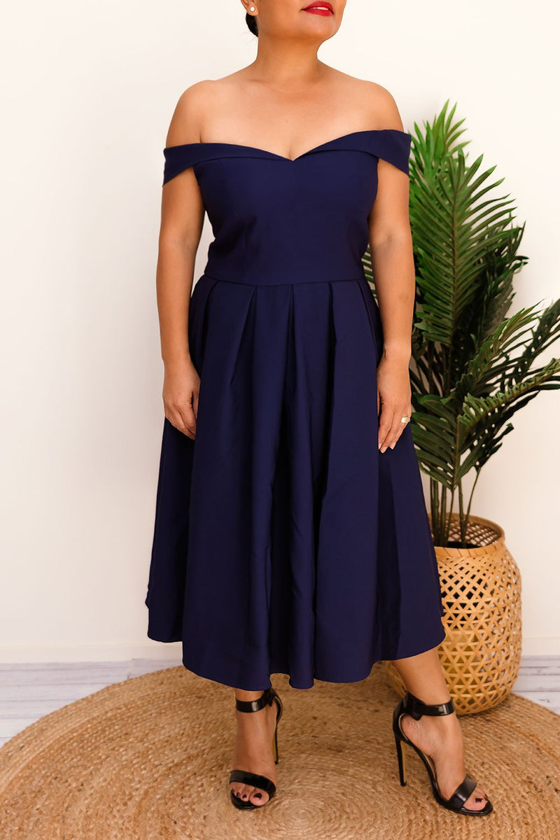 DYANA OFF-THE-SHOULDER DRESS-NAVY - Two Sisters Instyle