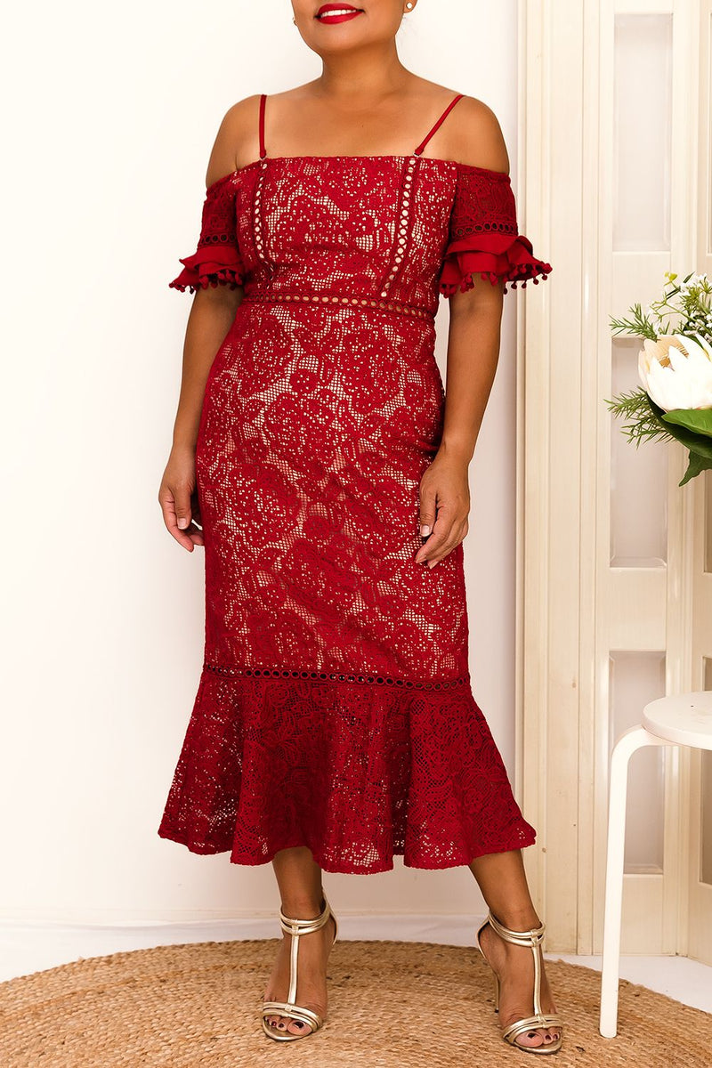 erica dress cold shoulder ruffle lace red