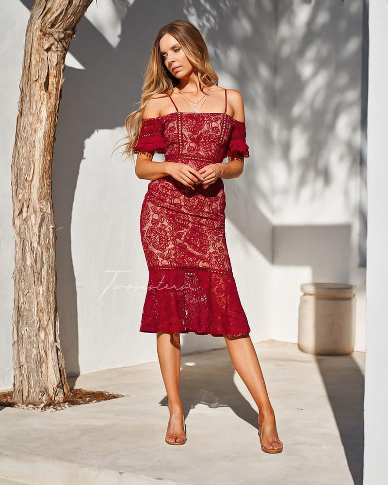 ERICA DRESS - RED - Two Sisters Instyle