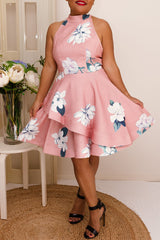 KOURTNEY HALTER FLORAL DRESS IN PINK - Two Sisters Instyle