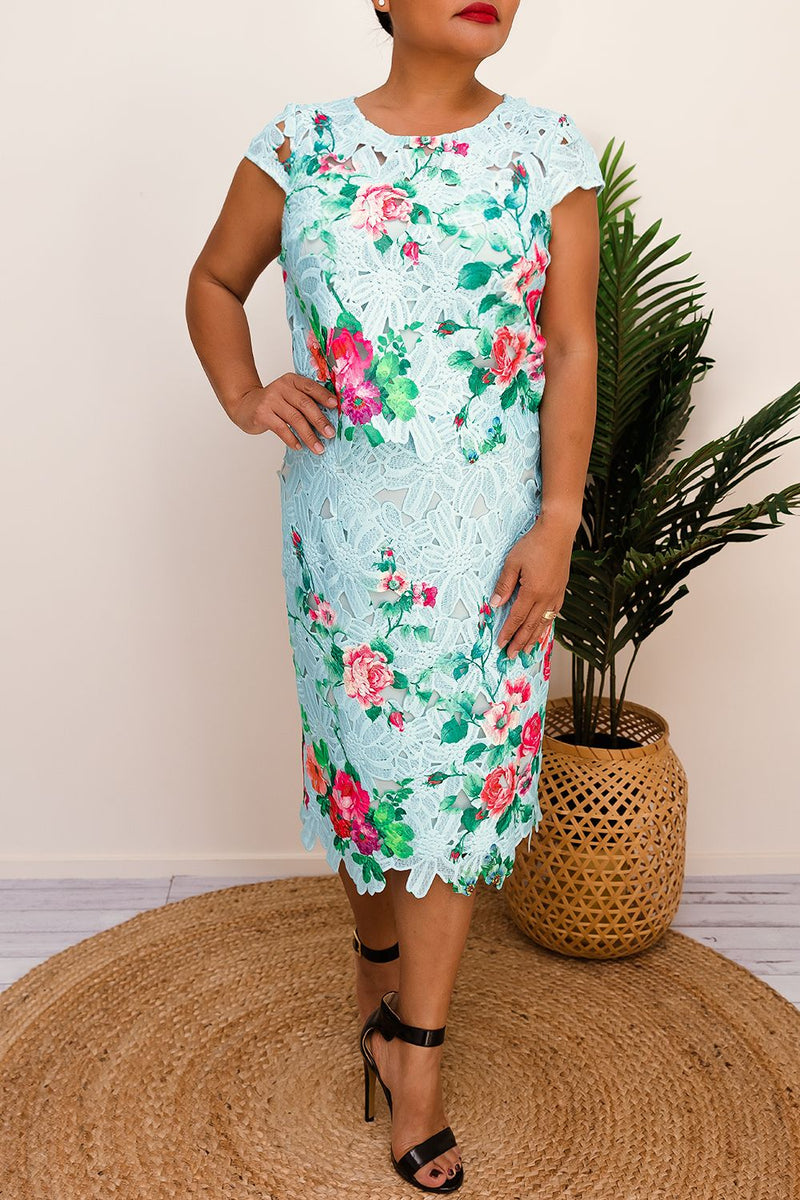 SHANI FLORAL DRESS-BLUE - Two Sisters Instyle
