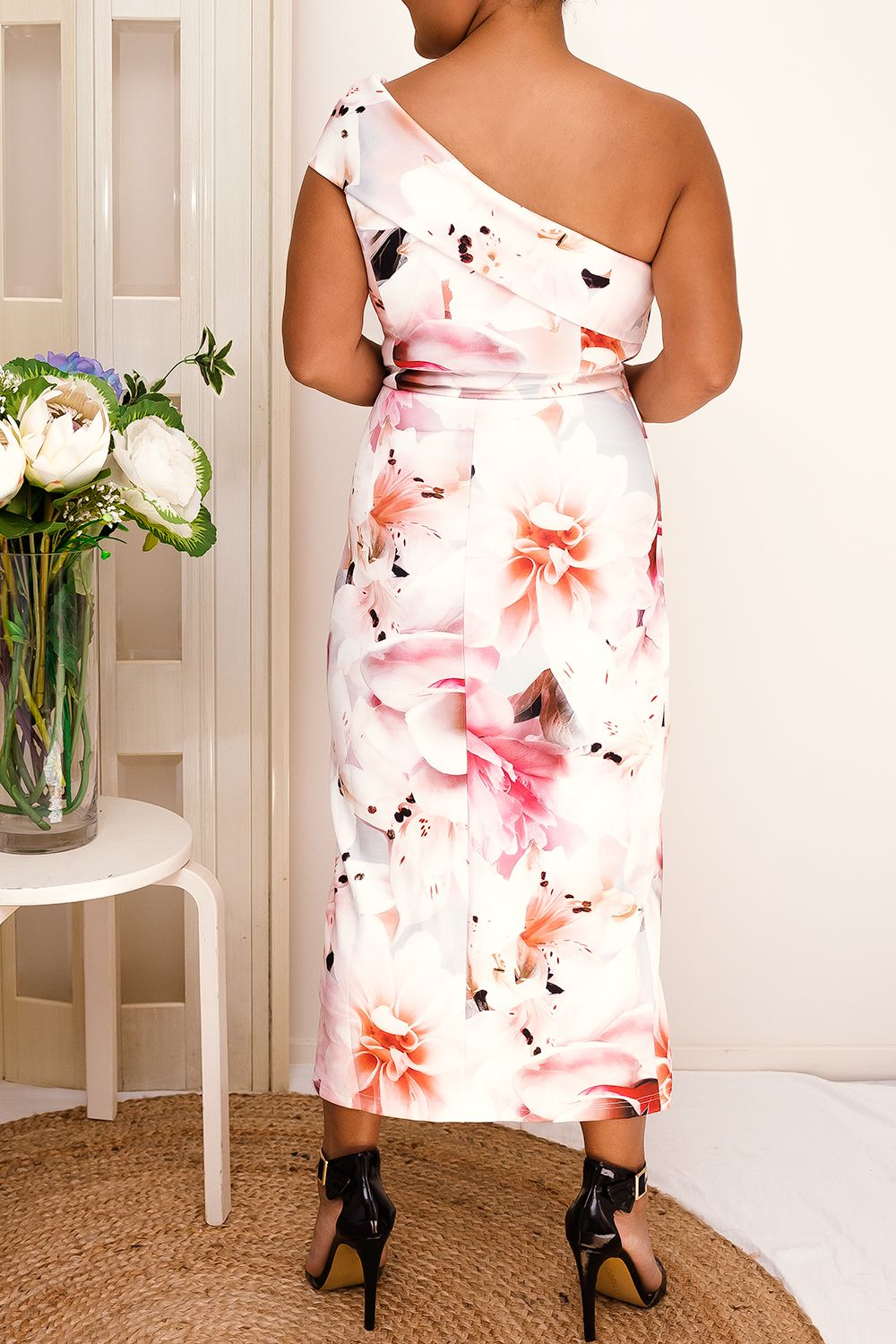 one shoulder floral tulip midi dress pink white