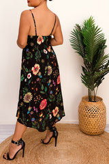 SIOBHAN FLORAL PRINT SUN DRESS-BLACK - Two Sisters Instyle