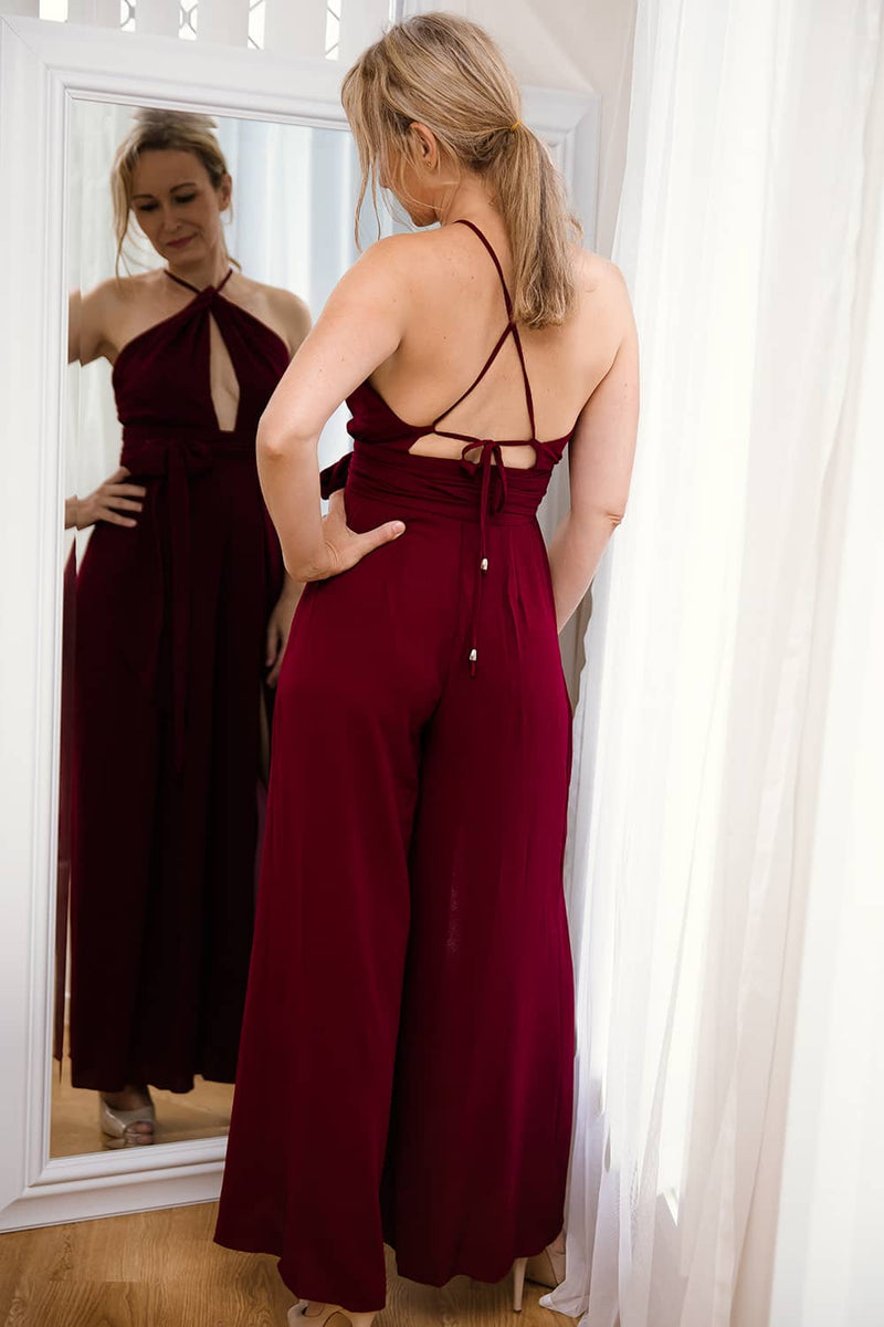 VALERIE HALTER NECK SPLITWIDE LEG JUMPSUIT - Two Sisters Instyle