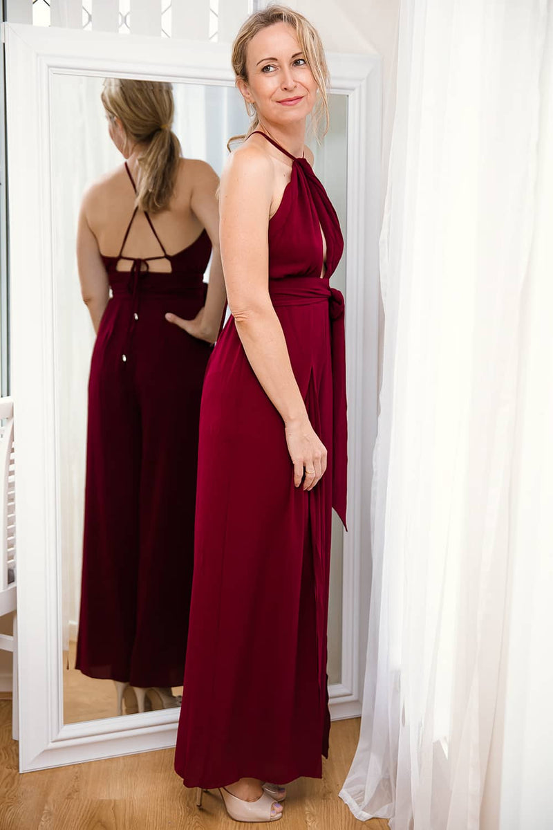 VALERIE HALTER NECK SPLITWIDE LEG JUMPSUIT-BURGUNDY - Two Sisters Instyle