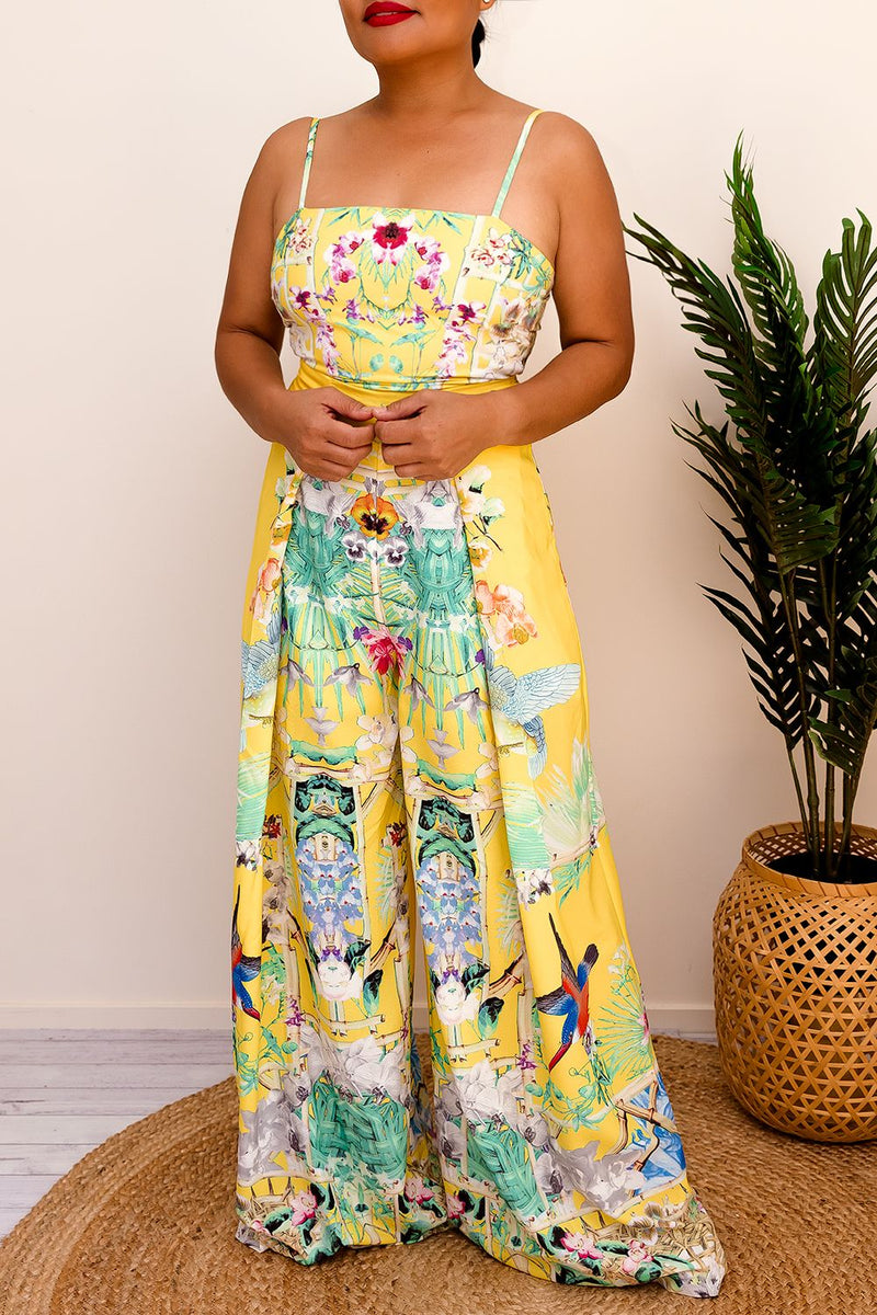 VANIA PRINTED JUMPSUIT- YELLOW - Two Sisters Instyle