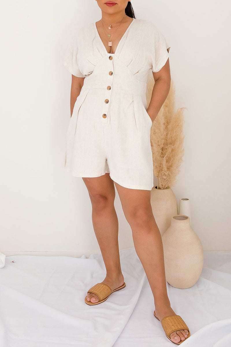 VERNA LINEN PLAYSUIT - OATMEAL - Two Sisters Instyle