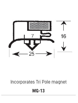 Magnetic Gasket PVC, Incorporates Tri-Pole Magnet, Grey, Supplied In 3 Metre Lengths