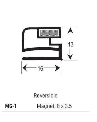 Magnetic Gasket, PVC, Reversible, Magnet 8 x 3.5, Grey, Supplied In 3 Metre Lengths
