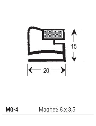 Magnetic Gasket PVC, Magnet 8 x 3.5, Grey, Supplied In 3 Metre Lengths