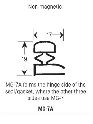 Non-Magnetic Gasket PVC, Hinge side is MG-7A & other 3 sides are MG-7, Supplied In 3 Metre Lengths