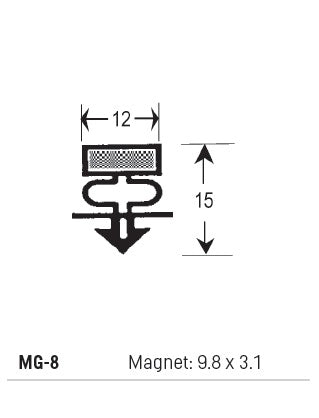 Magnetic Gasket PVC, Magnet 9.8 x 3.1, Grey, Supplied In 3 Metre Lengths