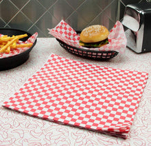 BBQ Butler Wax Paper Basket Liners - Sandwich Wrap - Grease Resistant Deli Wrap - Red and White - 12 x 12 inch (50)