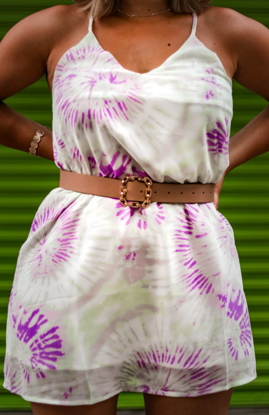 Purple & Lime Tie Dye Dress