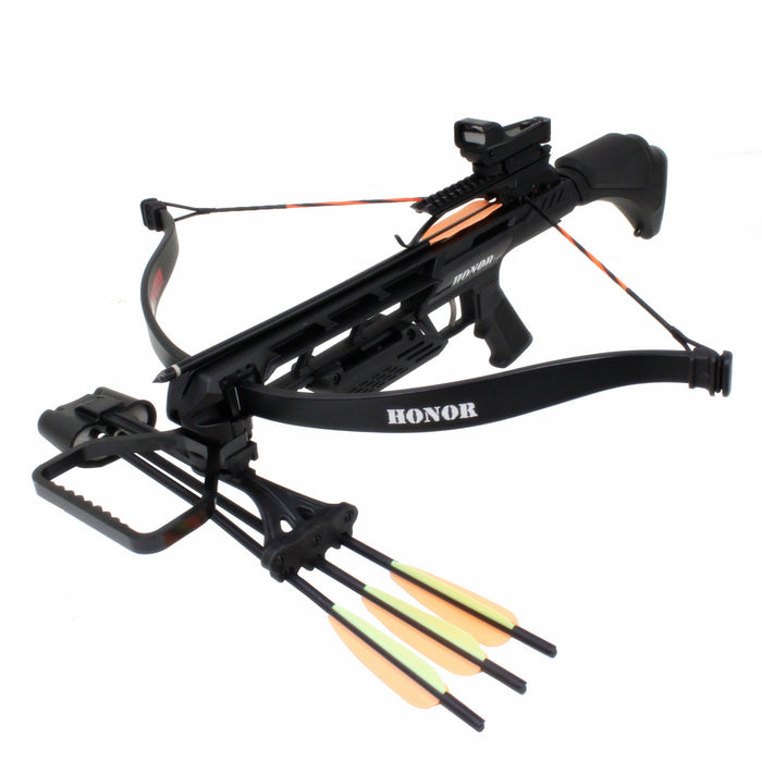 SAS Honor 175lbs Recurve Crossbow Red Dot Scope Package w/ Quiver + Rope Cocking
