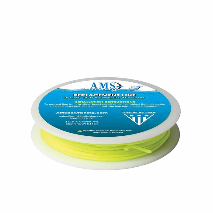 AMS 200 Pound Bowfishing Line 25 Yard for Retriever Style Reel Braided Dacron