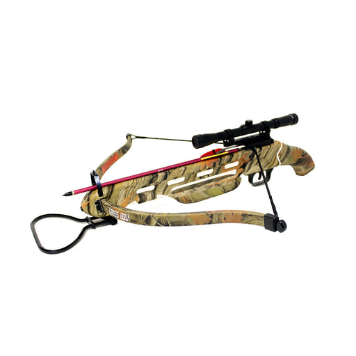 150lbs Short Stock Pistol Crossbow w/ 4x20 Scope + 8 x Arrows + Rope Cocking