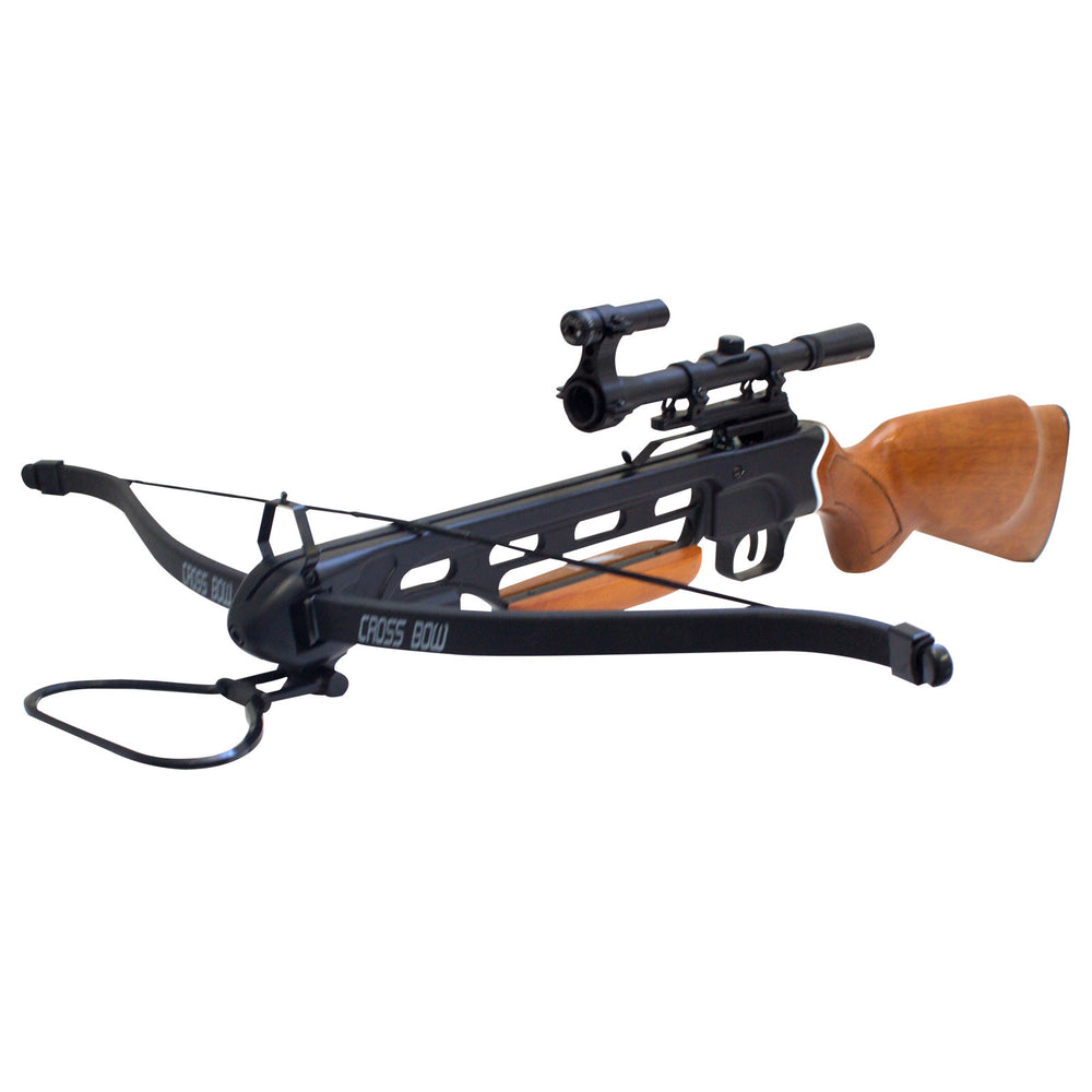 150 lbs Wood Hunting Crossbow with 8 Arrows + 4x20 Scope + 6 x Broadhead + Laser